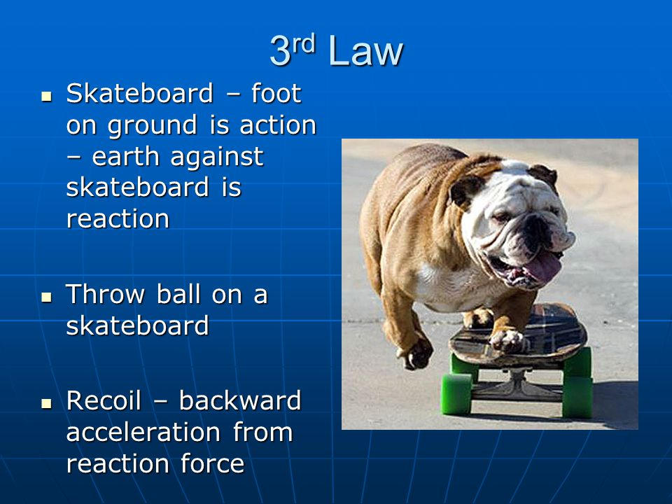 3rd Law Skateboard – foot on ground is action – earth against skateboard is reaction. Throw ball on a skateboard.