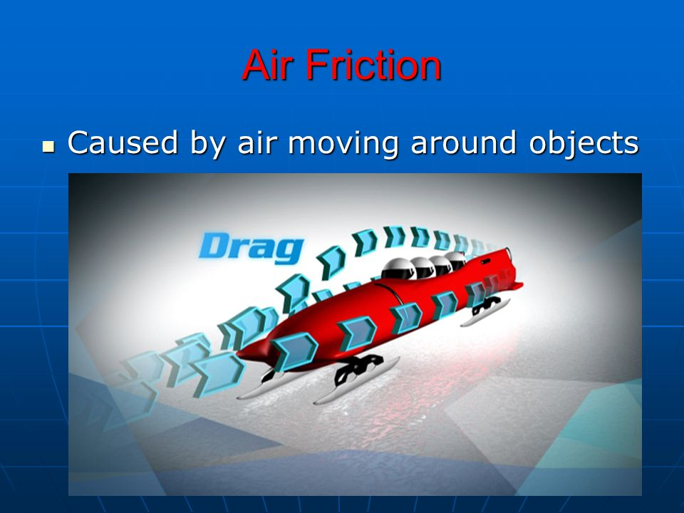 Air Friction Caused by air moving around objects