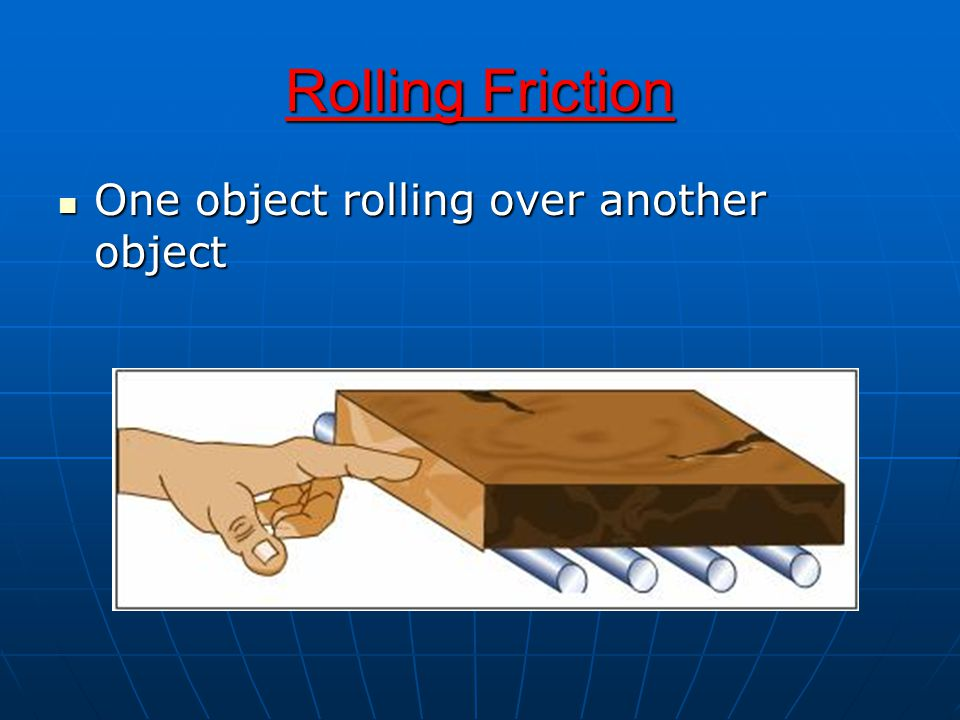 Rolling Friction One object rolling over another object