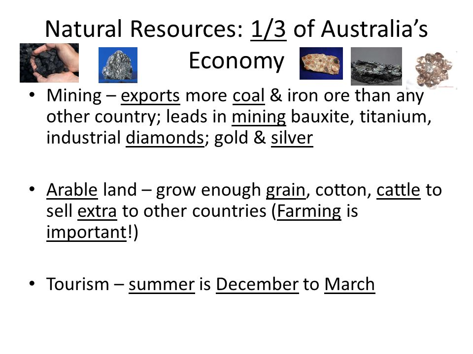 Natural Resources: 1/3 of Australia's Economy