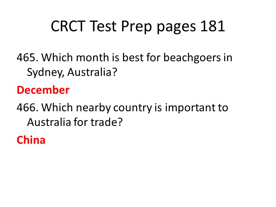CRCT Test Prep pages 181