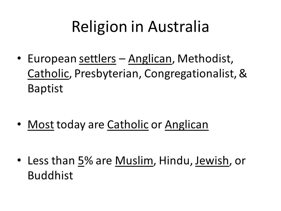 Religion in Australia European settlers – Anglican, Methodist, Catholic, Presbyterian, Congregationalist, & Baptist.
