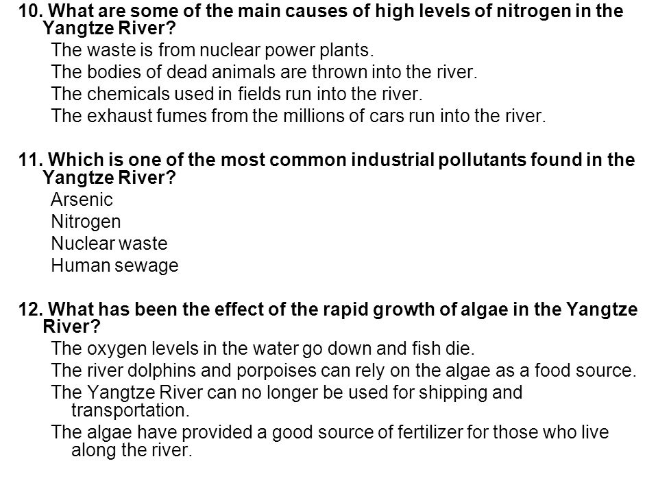 10. What are some of the main causes of high levels of nitrogen in the Yangtze River