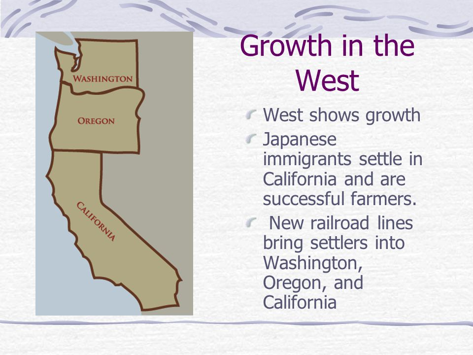 Growth in the West West shows growth