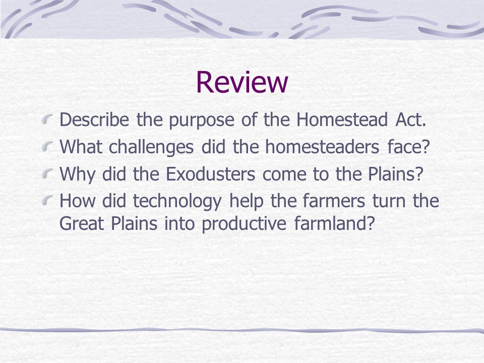 Review Describe the purpose of the Homestead Act.