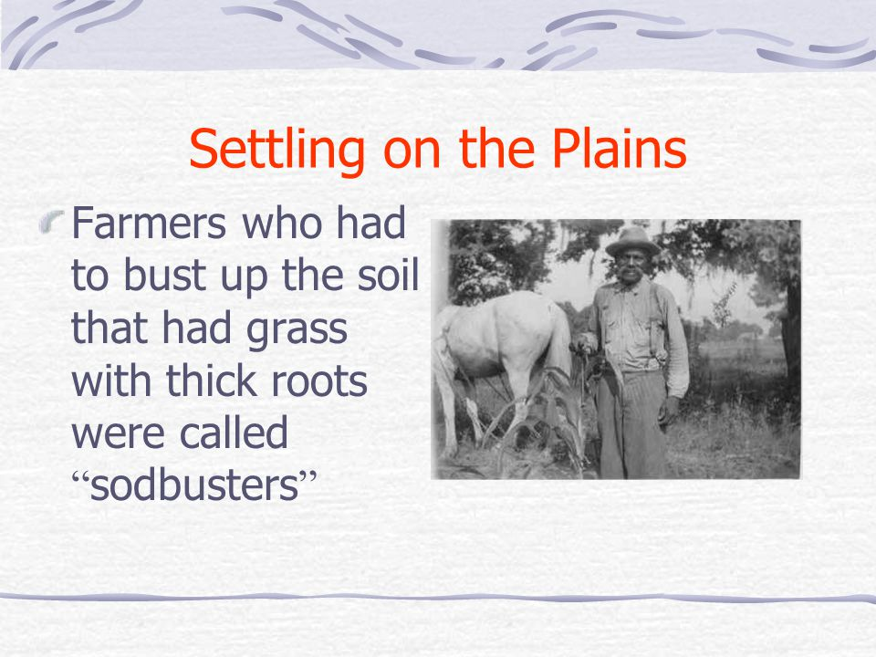 Settling on the Plains Farmers who had to bust up the soil that had grass with thick roots were called sodbusters