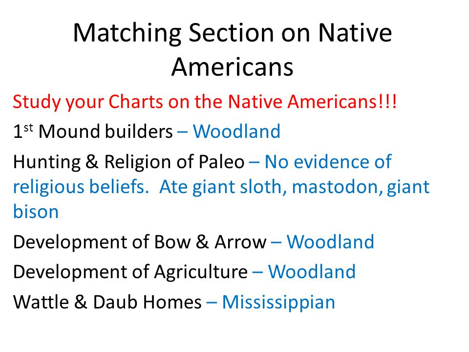 Matching Section on Native Americans