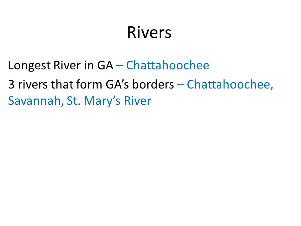 Rivers Longest River in GA – Chattahoochee