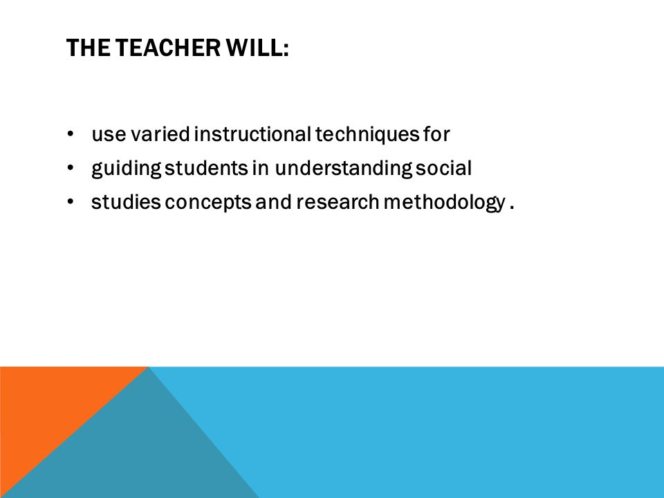 The teacher will: use varied instructional techniques for