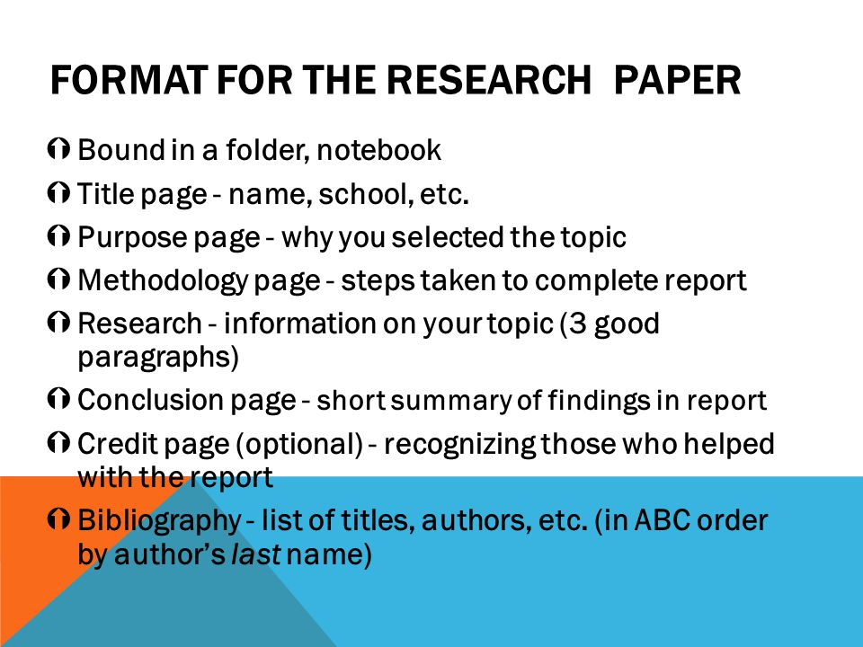 FORMAT for the RESEARCH PAPER