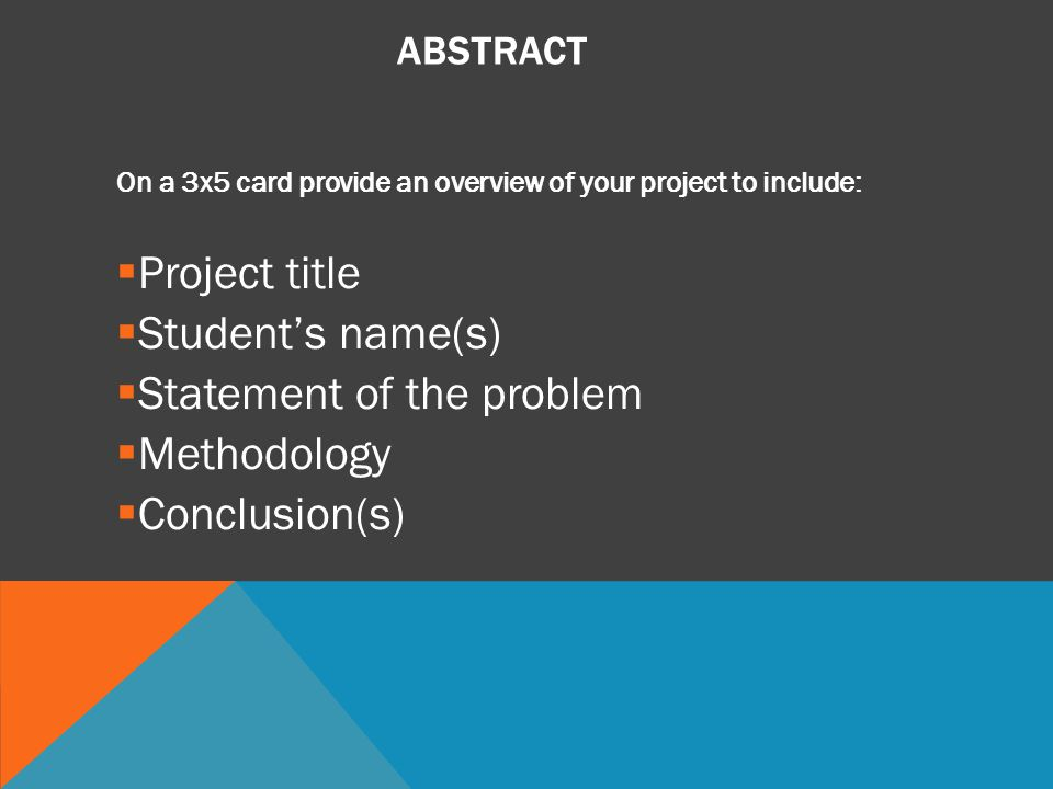 Statement of the problem Methodology Conclusion(s)