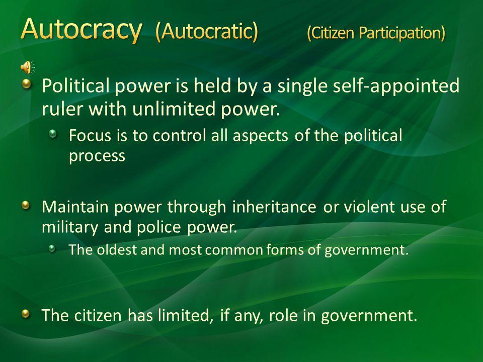 Autocracy (Autocratic) (Citizen Participation)