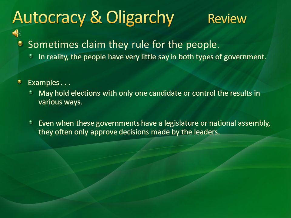 Autocracy & Oligarchy Review