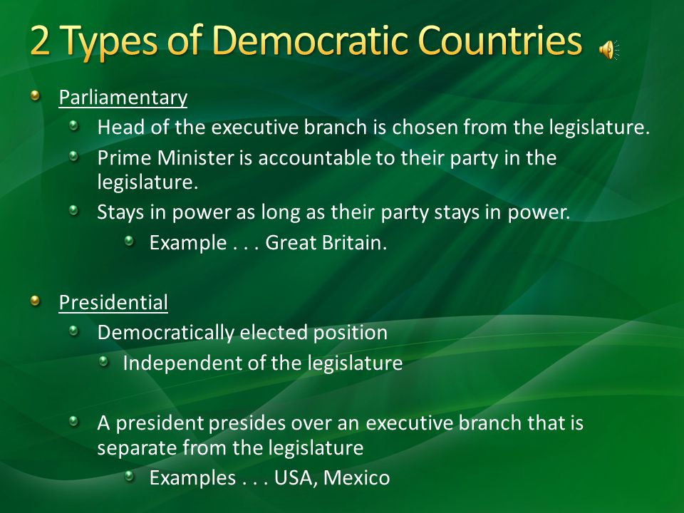 2 Types of Democratic Countries