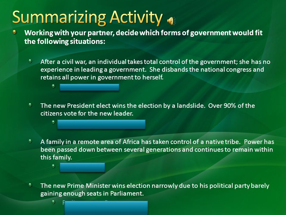 Summarizing Activity Working with your partner, decide which forms of government would fit the following situations: