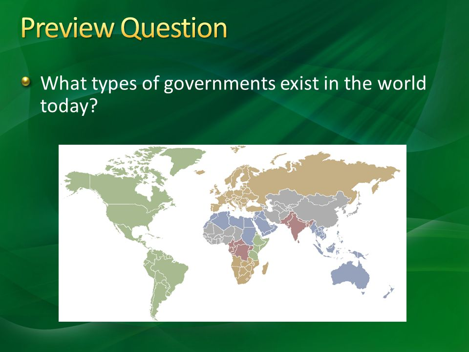 Preview Question What types of governments exist in the world today
