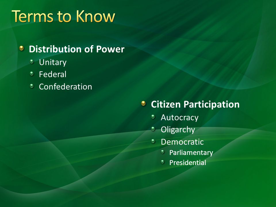 Terms to Know Distribution of Power Citizen Participation Unitary