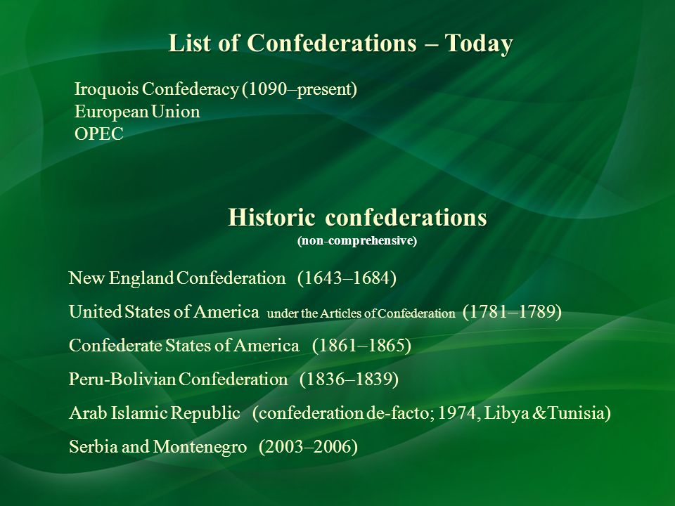 List of Confederations – Today Historic confederations