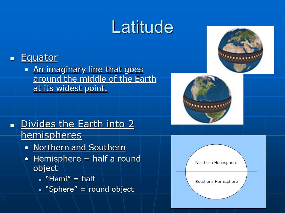 Latitude Equator Divides the Earth into 2 hemispheres