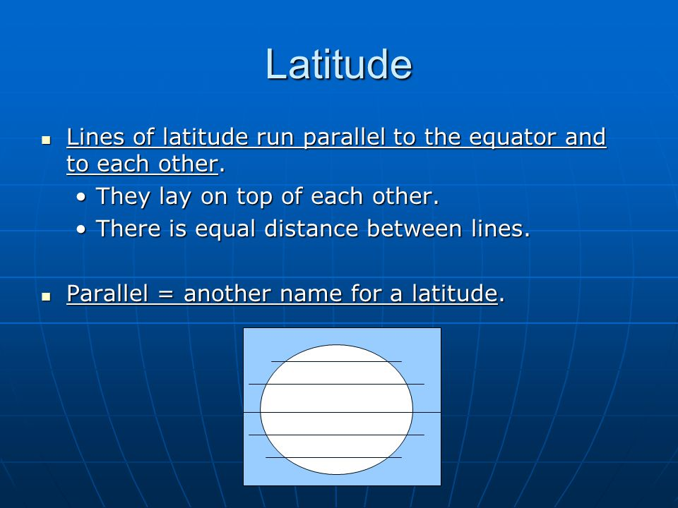 Latitude Lines of latitude run parallel to the equator and to each other. They lay on top of each other.