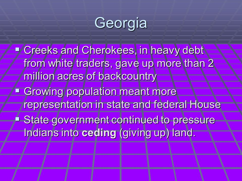 Georgia Creeks and Cherokees, in heavy debt from white traders, gave up more than 2 million acres of backcountry.