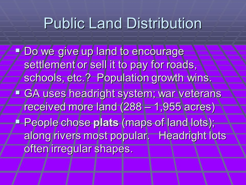 Public Land Distribution