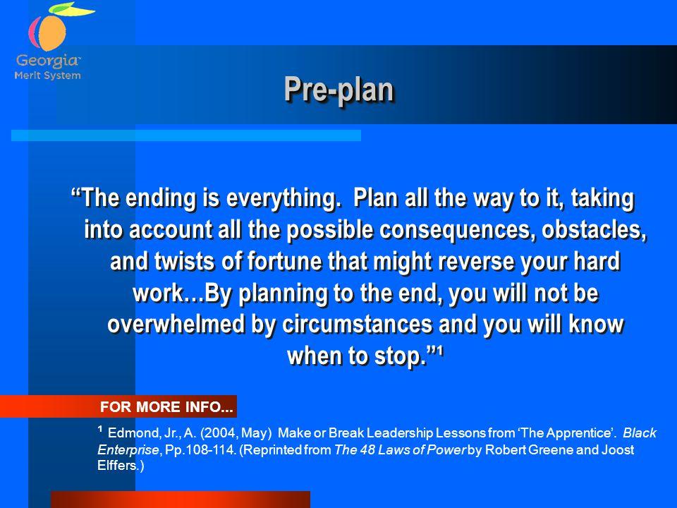 Pre-plan