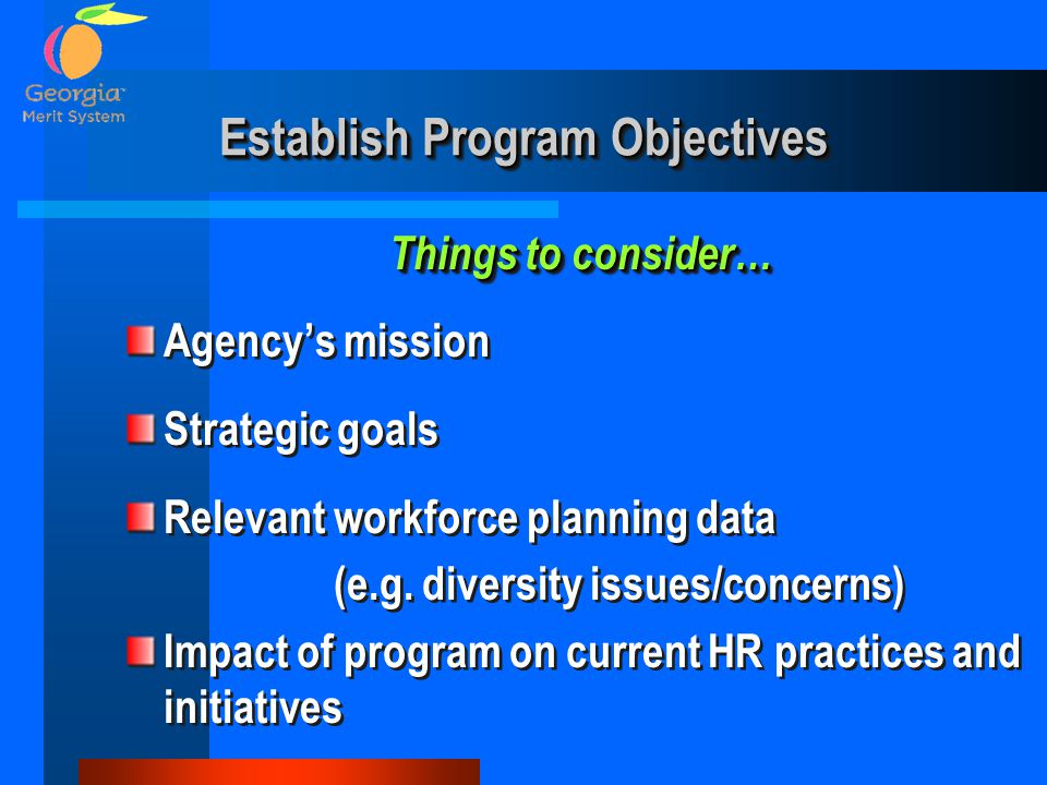 Establish Program Objectives