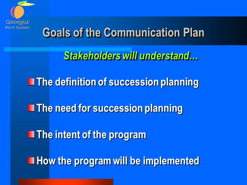 Goals of the Communication Plan