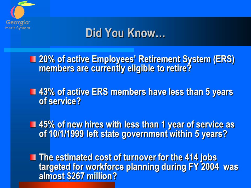 Did You Know… 20% of active Employees' Retirement System (ERS) members are currently eligible to retire