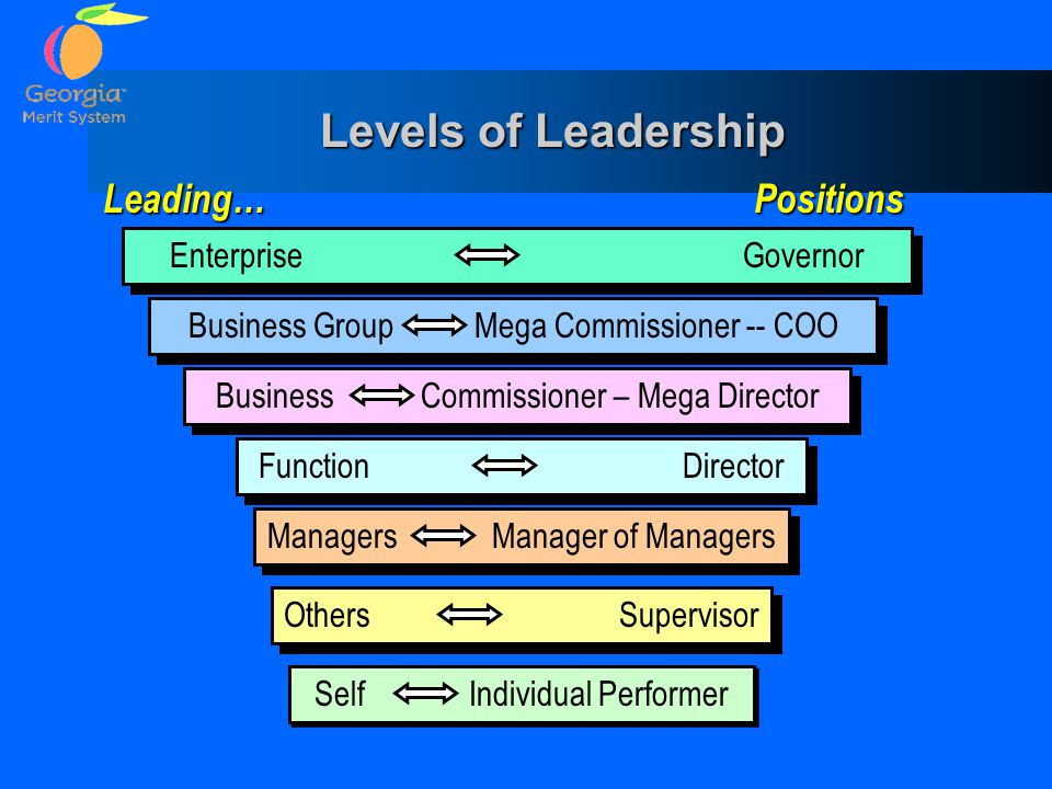 Levels of Leadership Leading… Positions Enterprise Governor