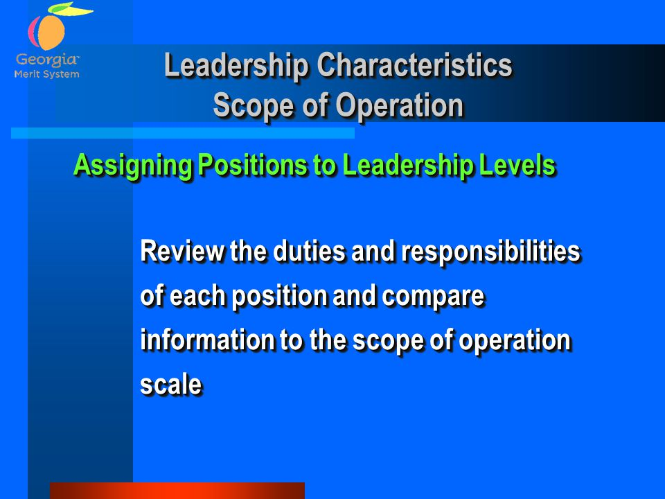 Leadership Characteristics Scope of Operation