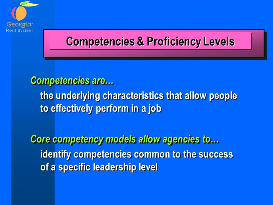 Competencies & Proficiency Levels