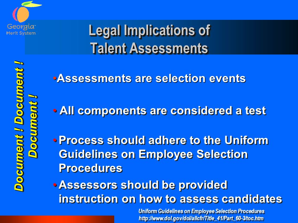Legal Implications of Talent Assessments