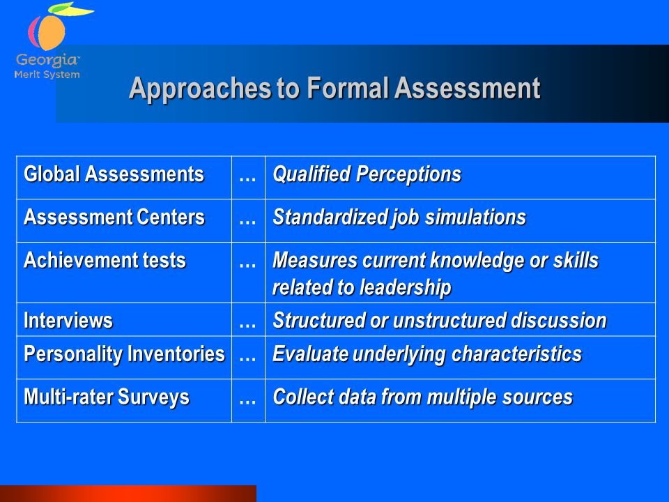 Approaches to Formal Assessment