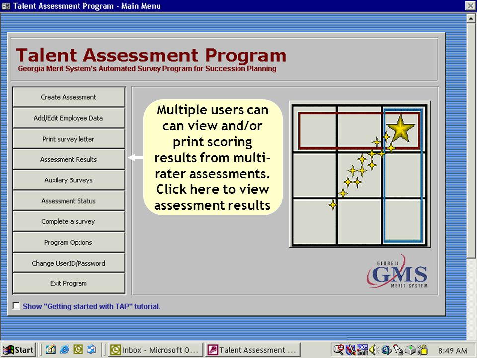 Multiple users can can view and/or print scoring results from multi-rater assessments.