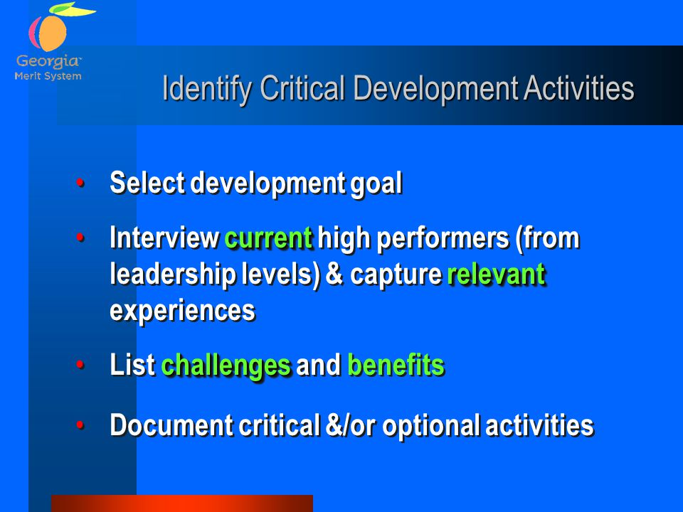 Identify Critical Development Activities