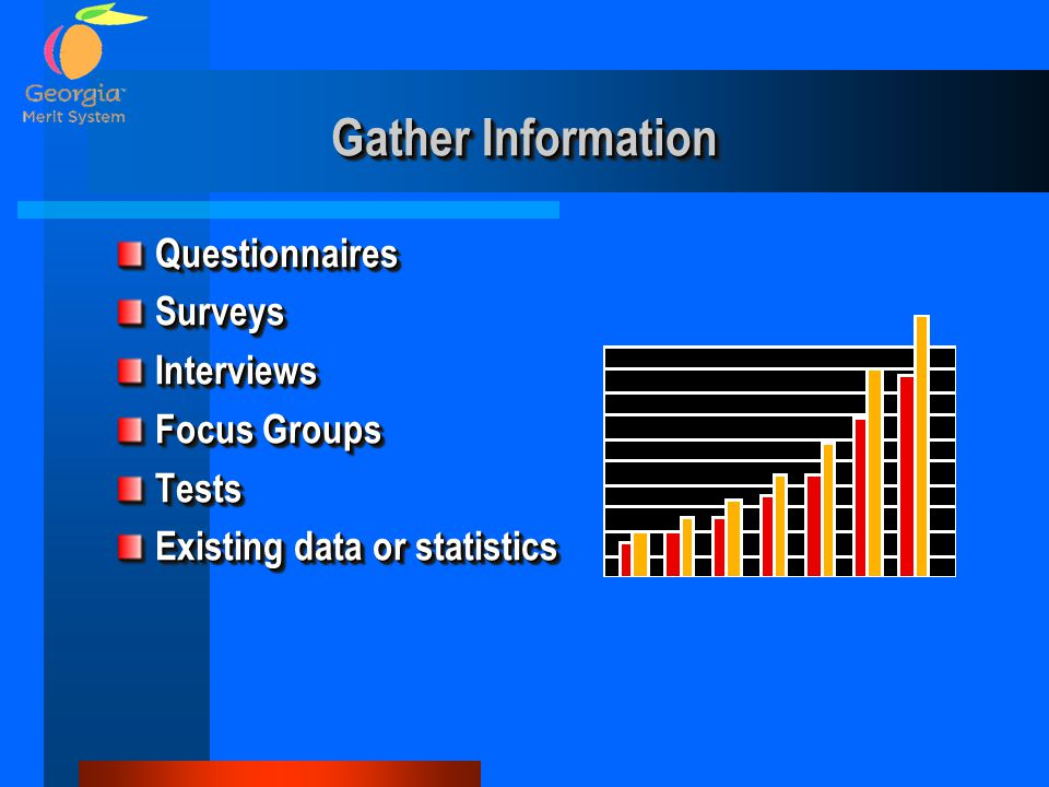Gather Information Questionnaires Surveys Interviews Focus Groups