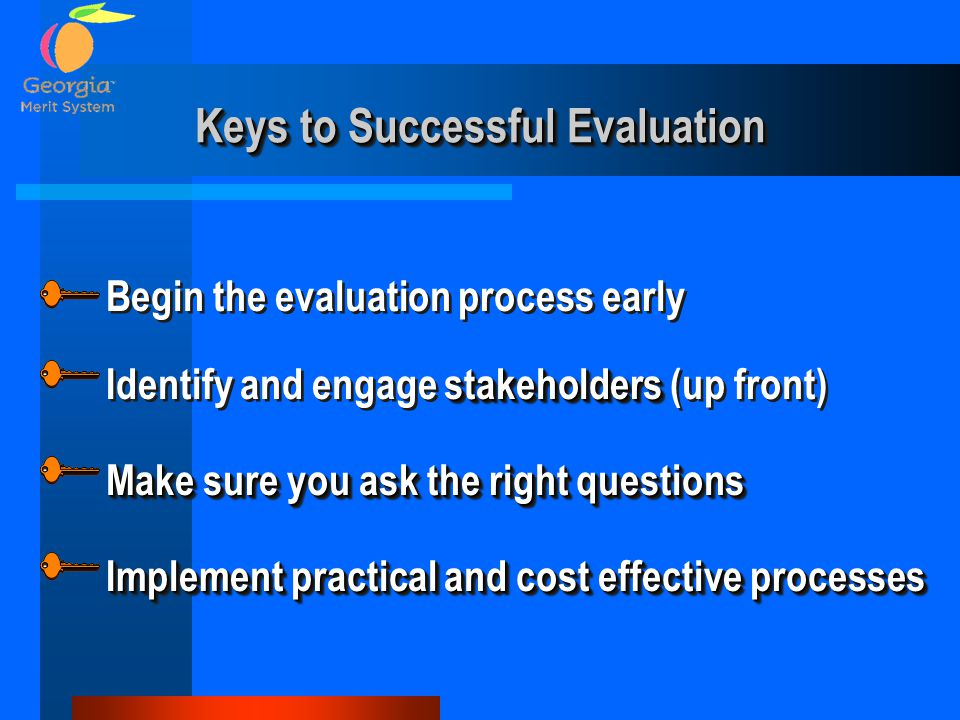 Keys to Successful Evaluation