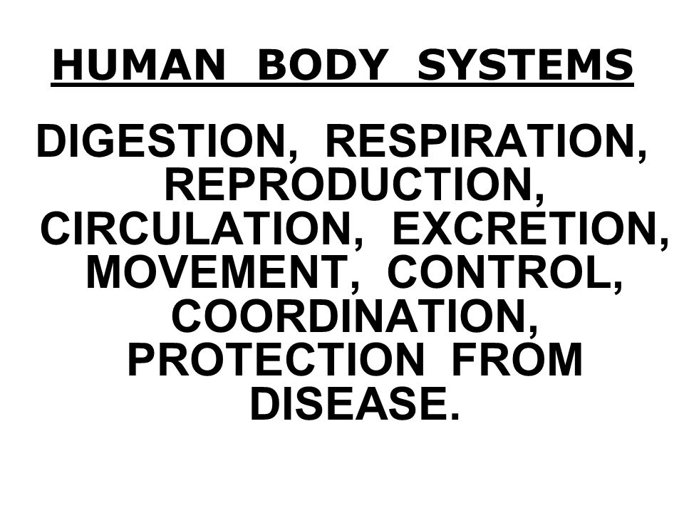 HUMAN BODY SYSTEMS DIGESTION, RESPIRATION, REPRODUCTION, CIRCULATION, EXCRETION, MOVEMENT, CONTROL, COORDINATION, PROTECTION FROM DISEASE.