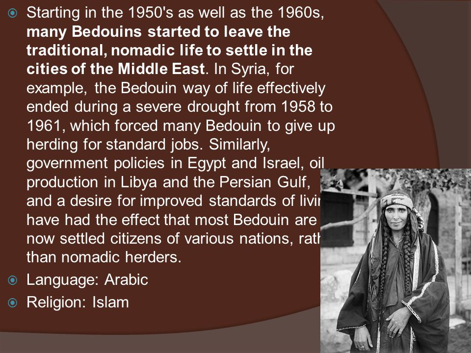 Starting in the 1950 s as well as the 1960s, many Bedouins started to leave the traditional, nomadic life to settle in the cities of the Middle East. In Syria, for example, the Bedouin way of life effectively ended during a severe drought from 1958 to 1961, which forced many Bedouin to give up herding for standard jobs. Similarly, government policies in Egypt and Israel, oil production in Libya and the Persian Gulf, and a desire for improved standards of living have had the effect that most Bedouin are now settled citizens of various nations, rather than nomadic herders.