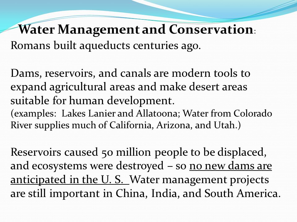 Water Management and Conservation: