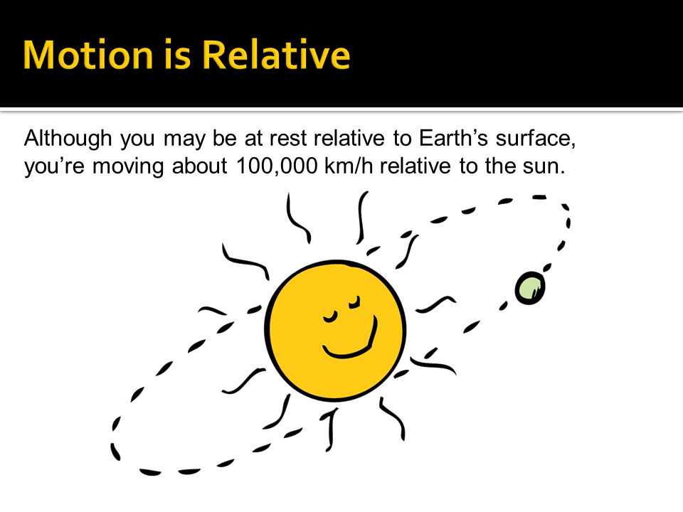 Motion is Relative Although you may be at rest relative to Earth's surface, you're moving about 100,000 km/h relative to the sun.