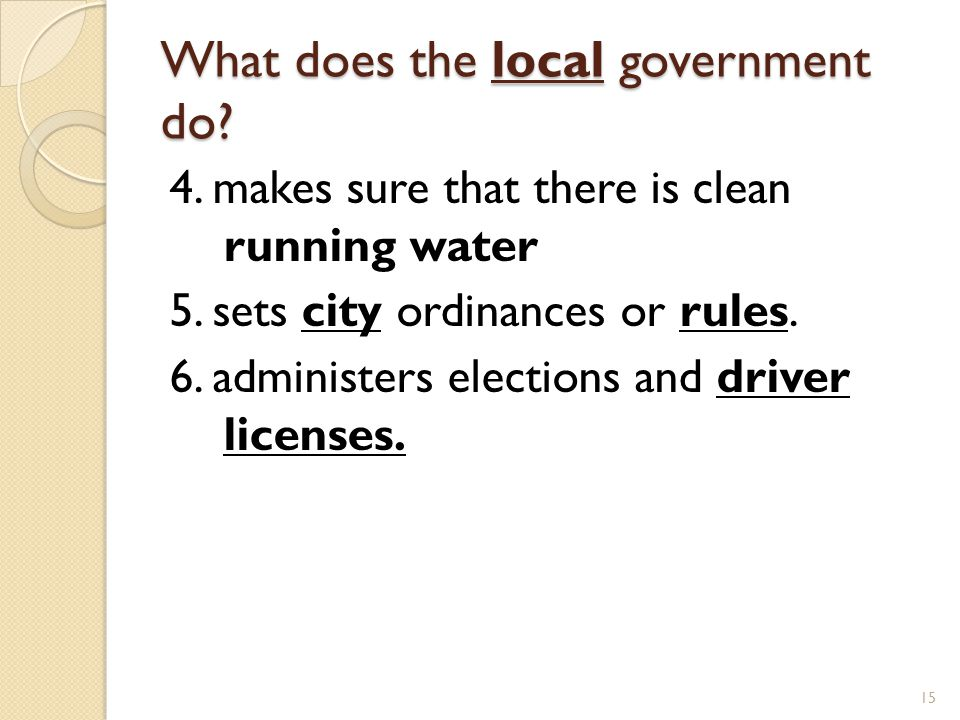 What does the local government do