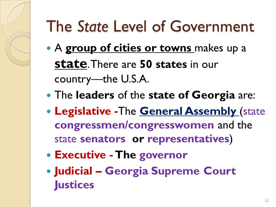The State Level of Government