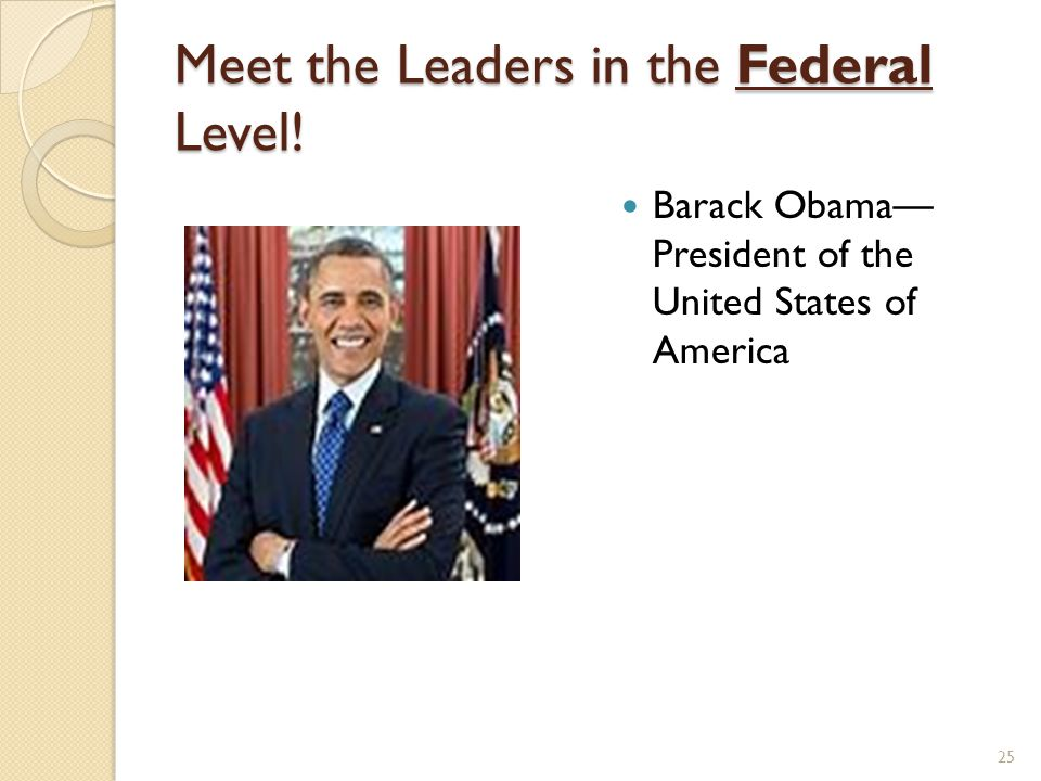 Meet the Leaders in the Federal Level!