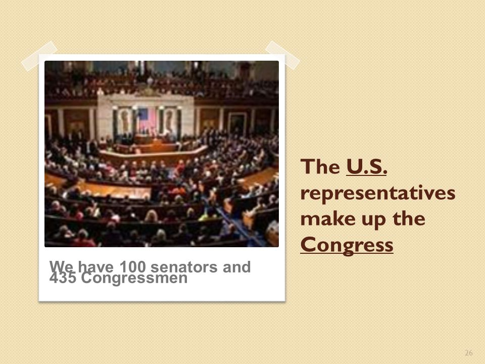 The U.S. representatives make up the Congress