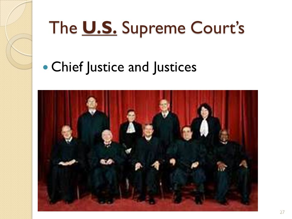 The U.S. Supreme Court's Chief Justice and Justices