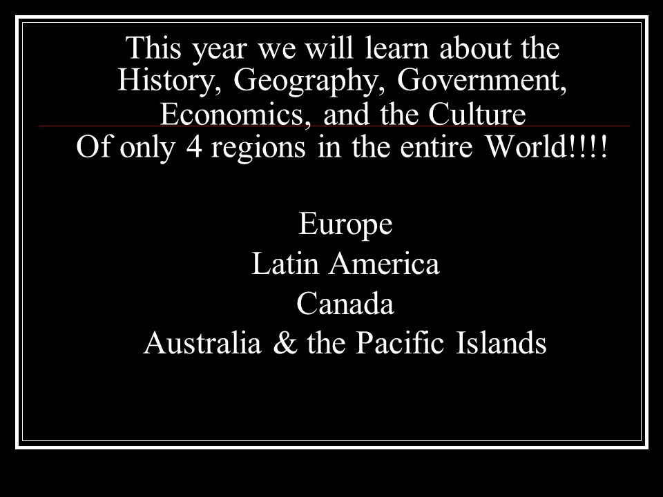 Europe Latin America Canada Australia & the Pacific Islands