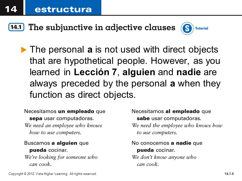 The personal a is not used with direct objects that are hypothetical people. However, as you learned in Lección 7, alguien and nadie are always preceded by the personal a when they function as direct objects.